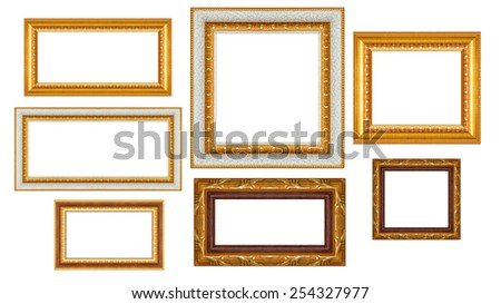 group of Thai art wood frame isolated on white background