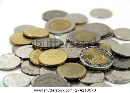 Group of Thai Baht Coins - stock photo