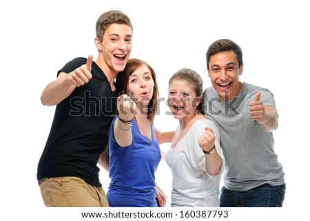 Group of the college students  isolated on a white background