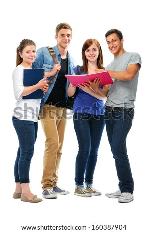 Group of the college students  isolated on a white background - stock photo
