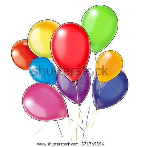 Group of the colorful balloons isolated on white background. Blue, Yellow, Red, Green, Violet, Pink and more colored balloons. Digital Illustration for art, print, web, holiday cards graphic design.