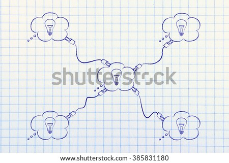 group of thought bubbles with lightbulbs connected with plugs, concept of shared knowledge - stock photo