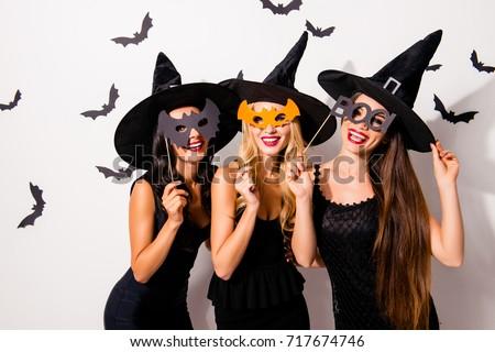 three diverse charming coquettes stock photo 717674746