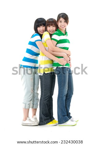 Group Of Three Female Friends Having Fun Together - stock photo