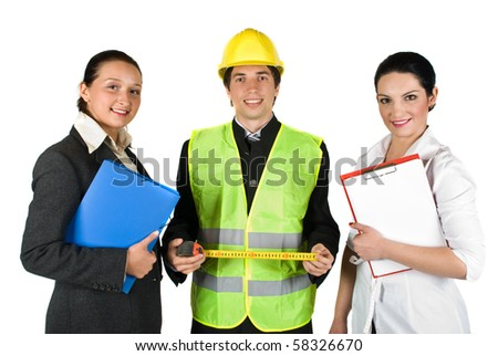 Group of three happy  workers with different careers isolated on white background - stock photo