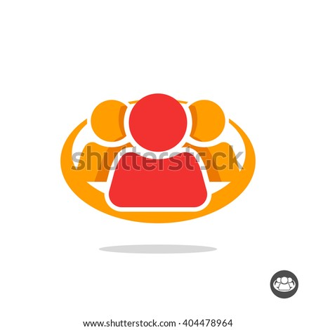 Group of three people logo sign, organization icon symbol, abstract family, team lead, leader, friends unity concept, teamwork, union, cooperation, support social colorful icon design isolated image - stock photo