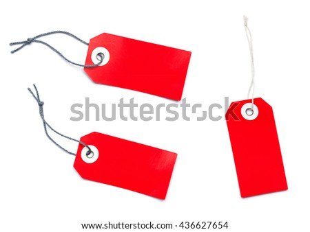 Group of three red sales label tag with copy space