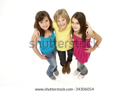 Group Of Three Young Girls In Studio - stock photo