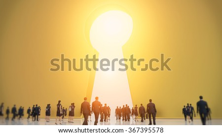 Group of tiny business men and women people walking into a gate shaped like a keyhole  - stock photo