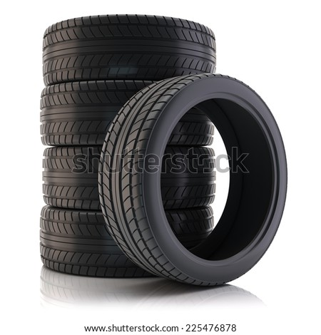 Group of tires isolated on white background - stock photo