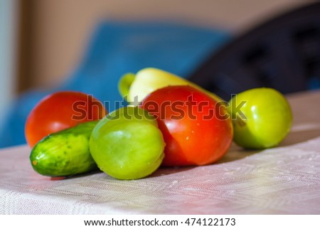 group of tomato, cucumber, pepper fresh vegetable on table outdoor at sunny day
