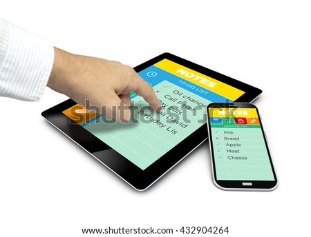 group of touchscreen devices with net app and a hand touching the screen. All screen graphics are made up - stock photo
