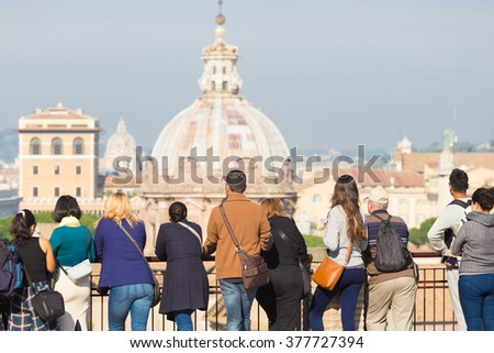 Group of tourist in Rome, Italy. - stock photo