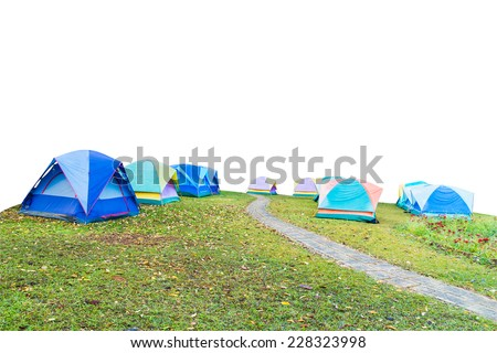 group of tourist tent isolated on white with clipping path - stock photo