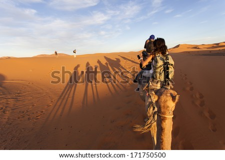 Group of tourists going for a caml trip in the middle of deserts with old nomads - stock photo