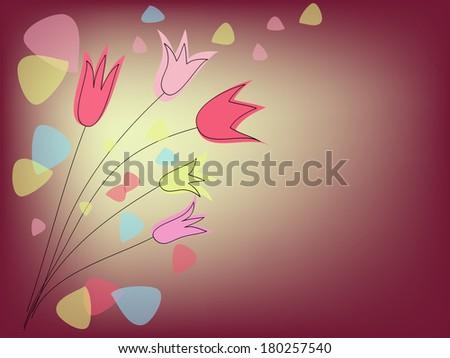 group of tulips on purple background - stock photo