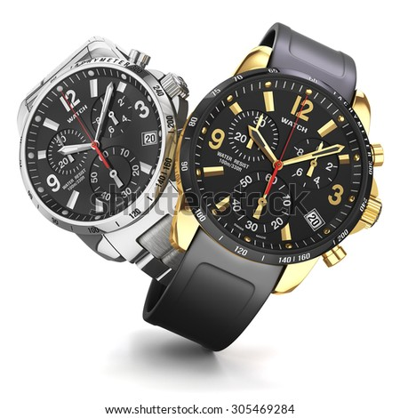 Group of two mens swiss mechanical golden and steel wrist watches, rubber and  golden wristband, black dial, tachymeter, chronograph isolated objects on whte background. Closeup. Illustration 3d - stock photo