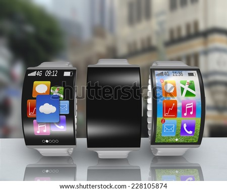 group of ultra-lightweight curved screen smartwatch with steel watchstrap on desk and street background - stock photo