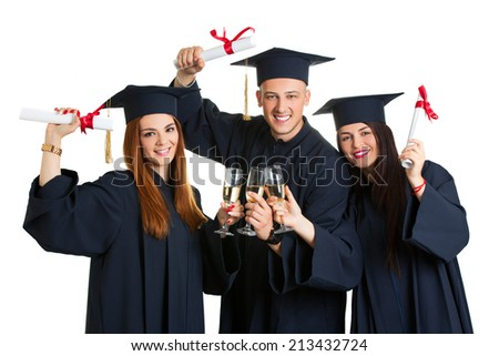 group of university student in graduation drink champagne and gown standing isolated on white background