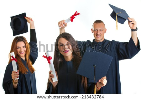 group of university student in graduation gown standing isolated on white background