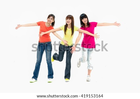 group of university students having fun - stock photo