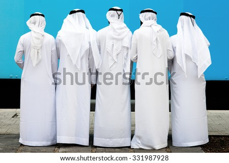group of unknown arab people - stock photo