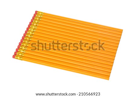 Group of unsharpened pencils on a white background