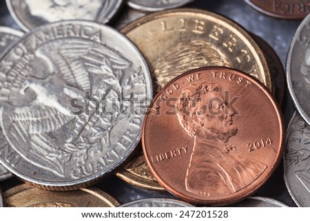 "Group of US American coin with wording ""in God we trust"" - stock photo"
