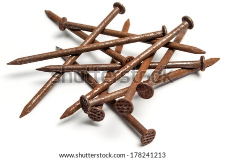 Group of used rusty nails.