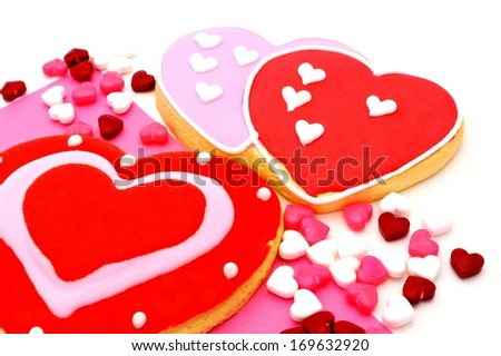 Group of Valentines Day cookies and candy
