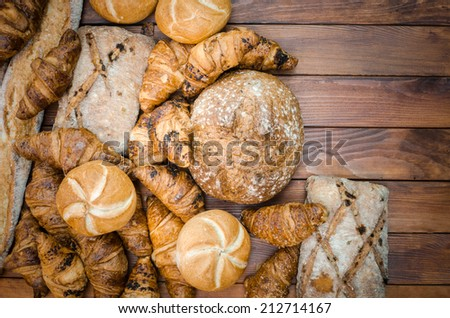 group of variety  bread products
