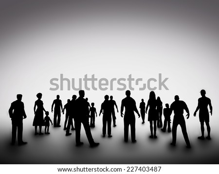 Group of various people silhouettes standing and looking ahead. Concept of society, community, business, urban life, diversity etc