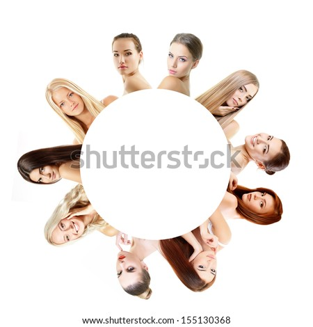 Group of very beautiful girls redheaded, blond and brunet, healthy faces closeup over white with empty round inside - stock photo