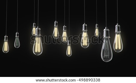 Group of vintage bulb lights 3d rendering on black background. Lights is turned on.