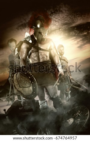 Group of warriors or Gladiators after the battle
