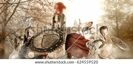 Group of warriors or Gladiators going to battle