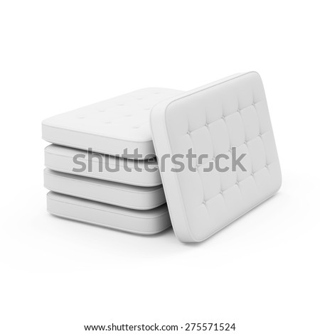 Group of White Bed Mattress isolated on white background - stock photo