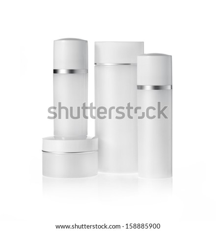 Group of White Cosmetic containers  - stock photo