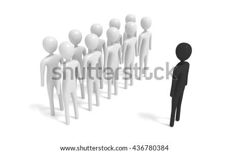 group of white 3d men with outsider, 3d illustration