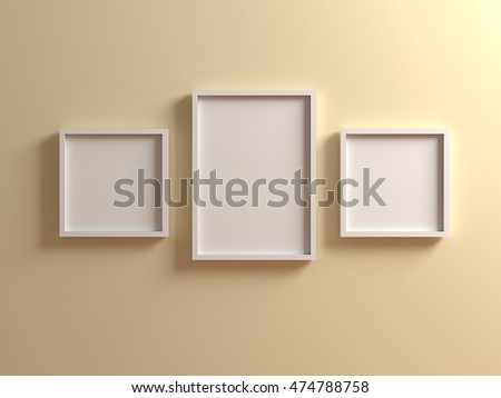 Group of white Picture with frame on light beige yellow wall. Canvas mock up template with clean copy space for design, photo, image, text, advertising. 3d illustration