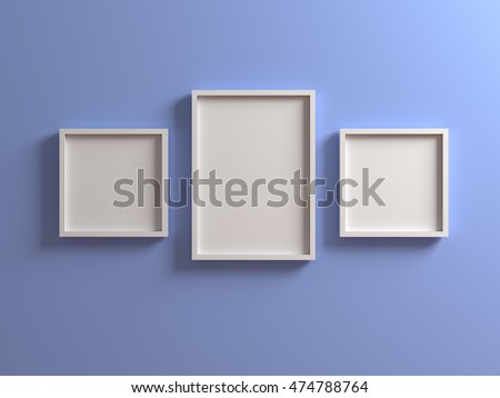Group of white Picture with frame on light blue wall. Canvas mock up template with clean copy space for design, photo, image, text, advertising. 3d illustration