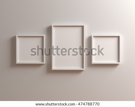 Group of white Picture with frame on white wall. Canvas mock up template with clean copy space for design, photo, image, text, advertising. 3d illustration