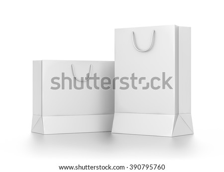 Group of white rectangle blank bags isolated on white background.