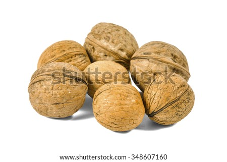 Group of whole walnuts isolated