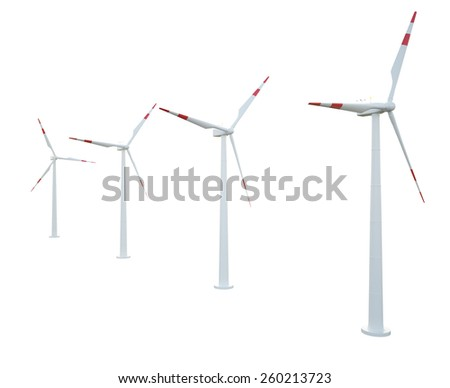 Group of wind turbines isolated on white background. 3d illustration high resolution