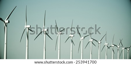 group of windmills for renewable electric energy production, Cintruenigo, Navarre, Spain - stock photo