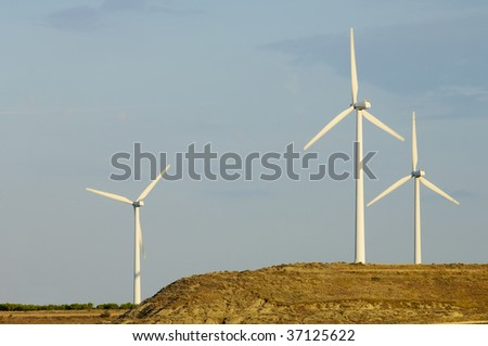 Group of windmills in a hill