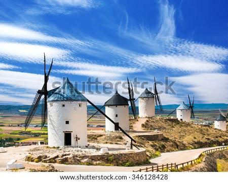 Group of windmills in Campo de Criptana. La Mancha, Spain - stock photo