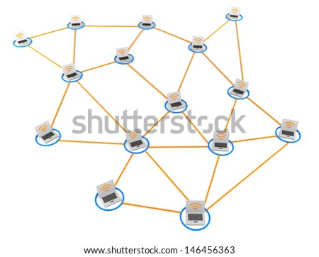 Group of Wireless network 3d image for Illustration
