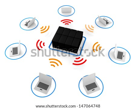 Group of Wireless network server 3d image for Illustration - stock photo